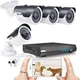 TECBOX k01c6h Security Camera System 4 Channel 720P Ahd Home Video Cctv Surveillance Dvr Recorder, No Hard Drive 4 Hd 1.3Mp Night Vision, Waterproof, Indoor / Outdoor