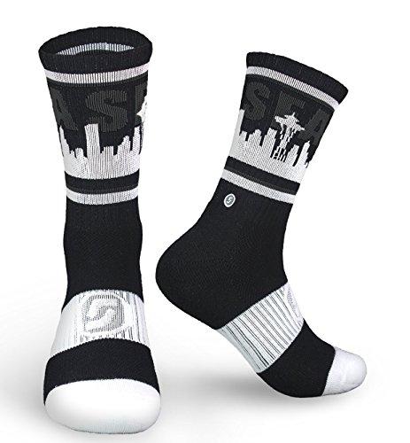 Seattle Skyline Sea Socks  Black White