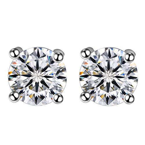 CONNIE.Y 18K White Gold Stud Earrings Classic Style Zirconia Diamond For Women & Girls. (Difference Between Dark Matter And Dark Energy)