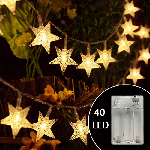 WSgift 17.16 feet 40 LED Star String Lights Battery Operated Starry Fairy Lights for Wedding Party Bedroom Garden Patio Curtain Lights( Warm White) (Electric Light Star)