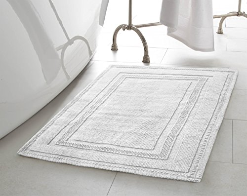 Jean Pierre New York Cotton StoneWash Racetrack 21x34 in. Bath Rug, White (Rugs One Bath Big The)