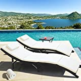 Homall 3 Pieces Outdoor Chaise Lounge Chair Patio Poolside Furniture Set Portable And Folding PE Rattan Furniture Set w/Side Table Black