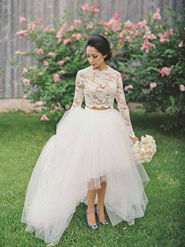 Lace Bridal Two Hi Pieces Lo Women's Dress Ball Wedding Dreamdress Ivory 8Ag5qx