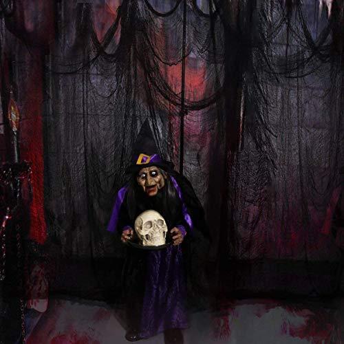 Vanow Black Creepy Cloth, Spooky Halloween Decorations for Haunted Houses Party Doorways for Indoor or Outdoor (8.9Yards X 78)