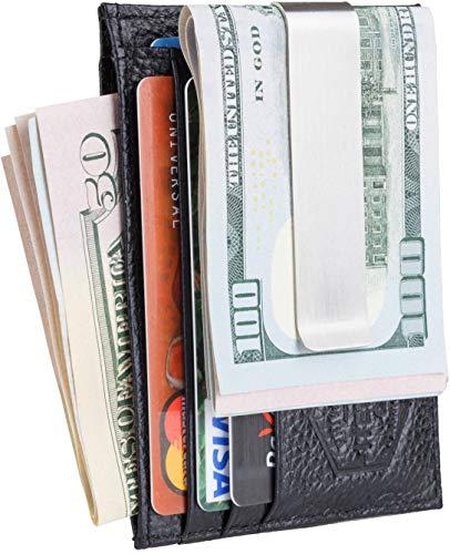 Embossed Mini Portfolio (Mens Money Clip Wallet - Front Pocket Wallet - RFID Black Genuine Leather)
