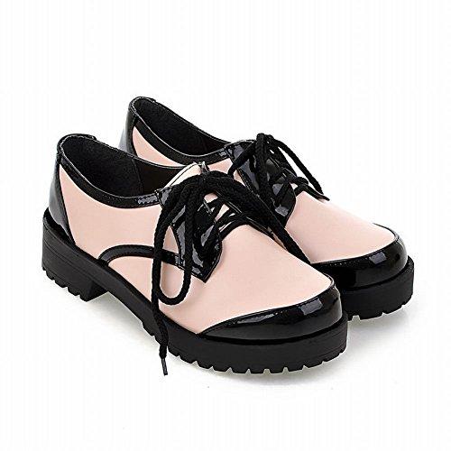 Carol Schoenen Dames Lace-up Geassorteerde Kleuren Comfort Casual Midden Dikke Hak Oxford Schoenen Roze
