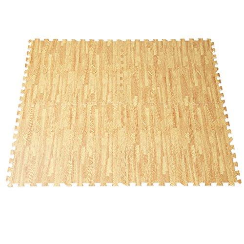 48 Sq Ft EVA Foam Floor Interlocking Mat Show Floor Gym Mat Wood Color TKT-11 by TKT-11