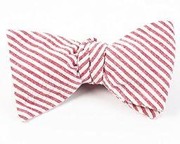 100% Cotton Red Seersucker Self-Tie Bow Tie