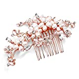Mariell Romantic Freshwater Pearl and Crystal Bridal Hair Comb - Rose Gold Designer Wedding Headpiece