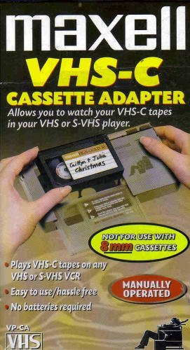 Maxell Cassette VHS-C Adapter- Allows you to watch your VHS-C tapes in your VHS player (8mm To Vcr Cassette Adapter)
