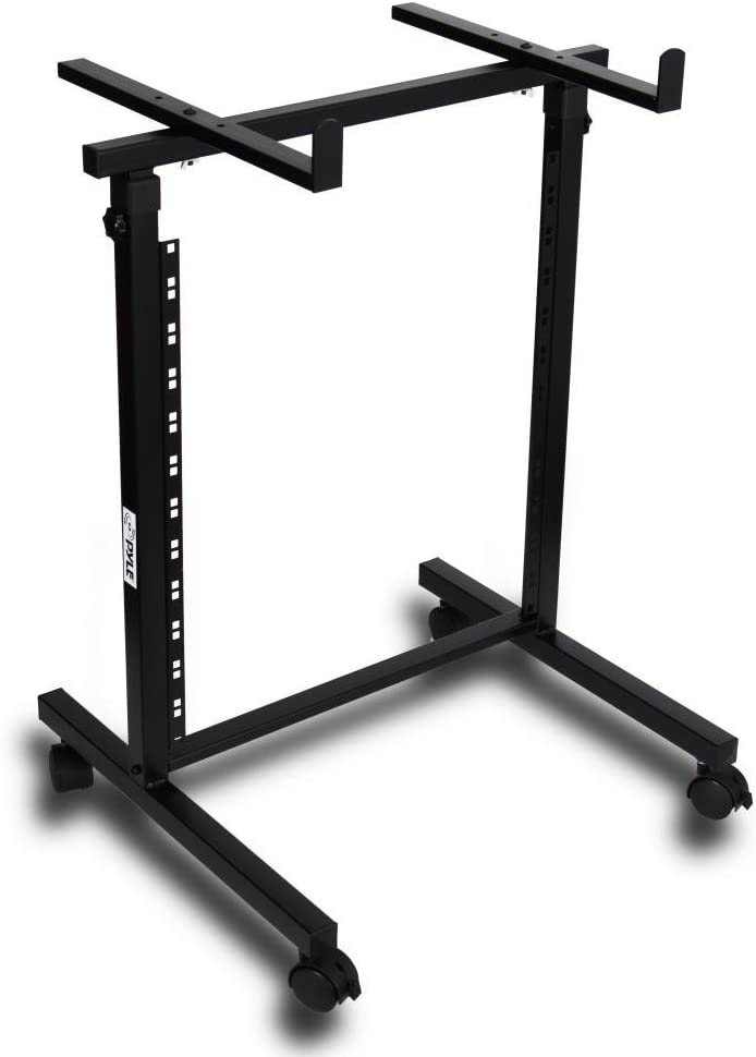 Universal DJ Stand Rack Mount - Heavy Duty Pro Electronic Music Equipment Studio Stage Stand Holder w/ Rolling Wheels, Works w/ Mixer, Power PA Amplifier, Piano Keyboard, MIDI Controller - Pyle PDJSD2