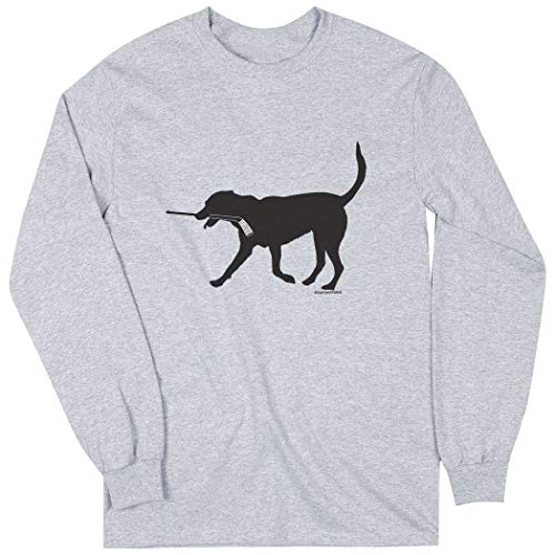ChalkTalkSPORTS Hockey Long Sleeve T-Shirt | Howe the Hockey Dog | Sport Gray | Medium