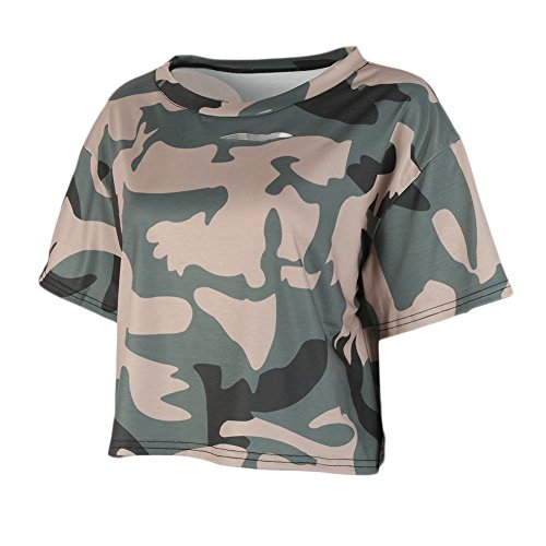 Byetell Fashion Women Short Sleeves Crop T-shirt Top Aliens Printed Short Tops Camouflage BAsian (Alien Tutorial)