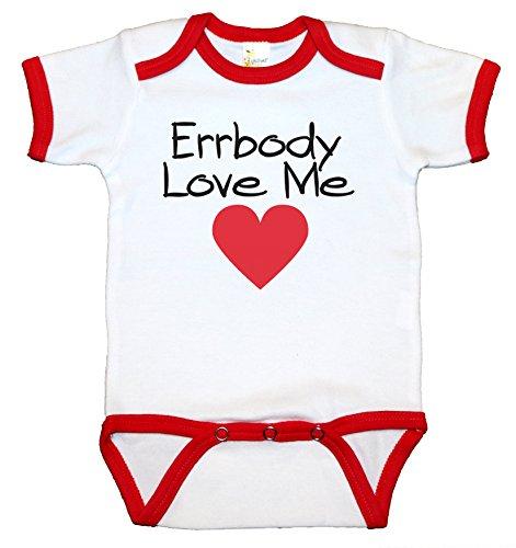 Love Ringer (RoyalT Wardrobe Errybody Love Me-White Ringer 100% Cotton, 7.5 Knit Baby Bodysuit, Short Sleeve (Red, 3-6))