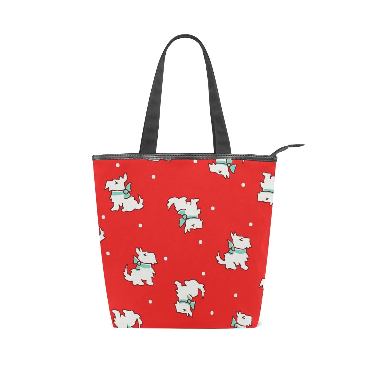 Women Large Tote Top Handle Shoulder Bags Storybook Christmas Scottie Dogs Red Satchel Handbag