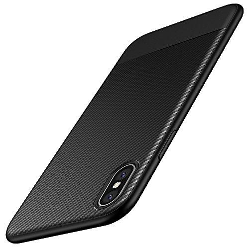 kapa carbon fibre soft flexible protective back cover case cover for apple iphone x   black
