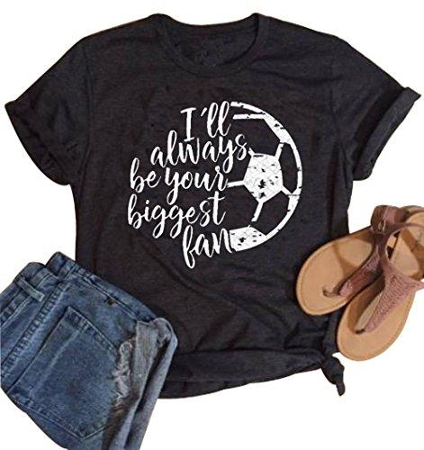 YUYUEYUE I ll Always be Your Biggest Fan Baseball Mom T Shirt Softball Cute  Fashion Tops (Small) 9276b5054cff