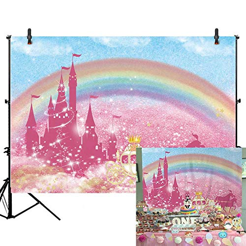 Allenjoy 7x5ft Gold Royal Princess Theme Backdrop Girl 1st First Birthday Party Banner Pink Castle Photography Background for Infant Newborn Baby Shower Cake Table Decors Photo Studio Booth Props -
