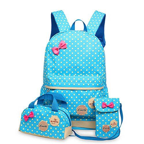 MIUCOO Polka Dot 3pcs Kids Book Bag School Backpack Handbag Purse Girls Teen (Blue)