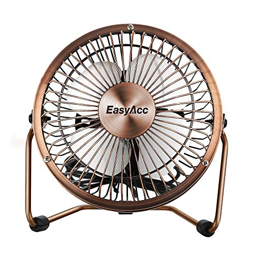 EasyAcc 6 Inch Desktop USB Fan, USB Powered, Personal Table Fan, Small Desk Fan - Bronze