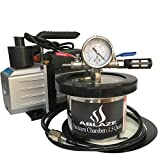 vacuum purge kit - ABLAZE 1.5 Quart Stainless Steel Vacuum Degassing Chamber and 3 CFM Single Stage Pump Kit