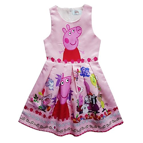 Peppa Pig Girls Kids Princess Sleeveless Party Holiday Birthday Dress (7-8 years(Tag size 140)) (Kids Peppa Pig Costume)