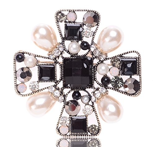 MISASHA Black And White Rhinestone Crystal Encrusted Brooch Pin