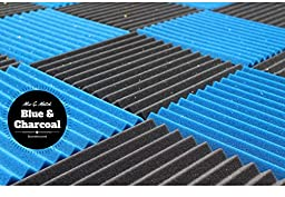 "Soundproofing Acoustic Studio Foam - Blue Color - Wedge Style Panels 12""x12""x1"" Tiles - 6 Pack"