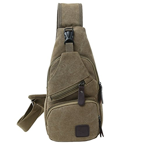 Canvas Chest Pack Crossbody Casual Sling Shoulder Bag(502) (Light coffee)