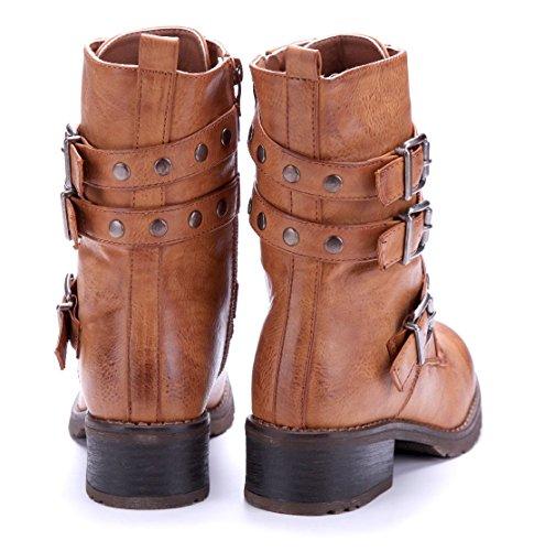 Schuhtempel24 Damen Schuhe Boots Stiefel Stiefeletten Blockabsatz Schnalle/Nieten/Used Look 4 cm Camel