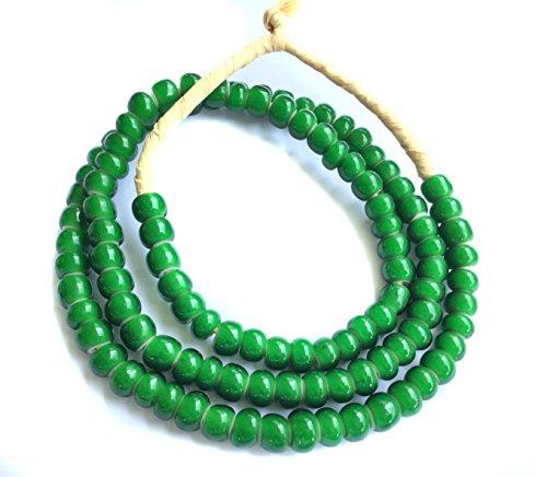 Green White heart glass trade beads