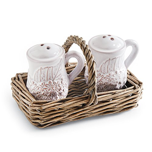 Mud Pie Hydrangea Salt & Pepper Set, White (Hydrangea Gift Basket)