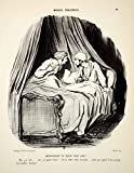 1968 Lithograph Honore Daumier Art Married Life Husband Wife Bed Sleep Talking - Original Lithograph
