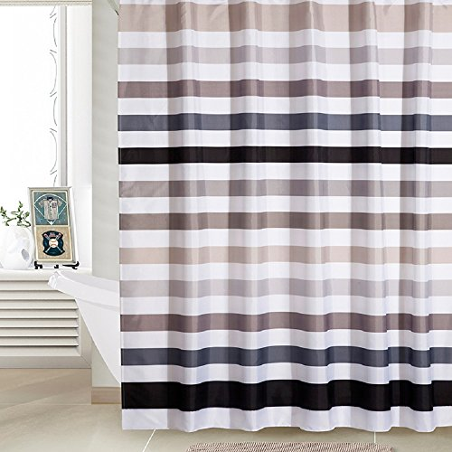 "UPC 769700901481, Ufaitheart Stripe Shower Curtain Stall Size Shower Curtain 36"" x 78"" Polyester Fabric Bathroom Shower Curtain Set, Black, Gray, White"