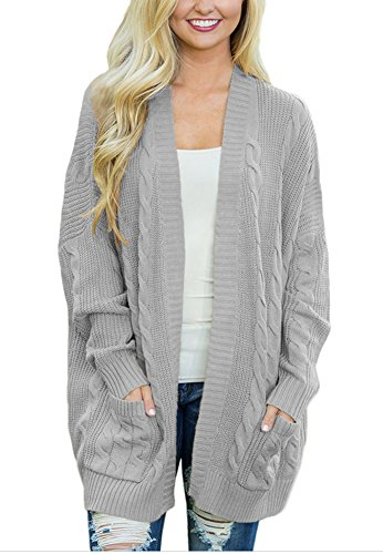 YiYaYo Womens Casual Open Front Knit Long Sleeve Cardigans Sweater With Pocket Grey 2XL