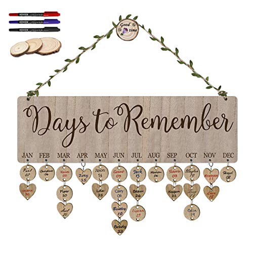 ElekFX Gift for Dad Mom Family Birthday Reminder Calendar Plaque Wooden Wall Hanging Board Days to Remember with 100 Slices for Family & Friends & Classroom (Day Celebration Gift)