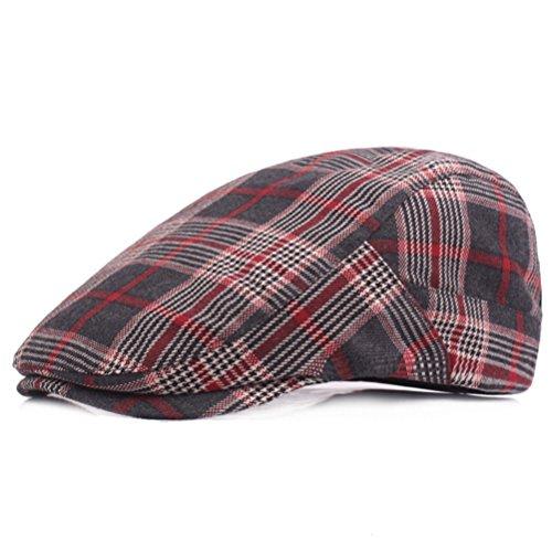 RICHTOER Newsboy Hats Golf Men Peaked Cap Summer Cotton Plaid Flat Driving (Red)