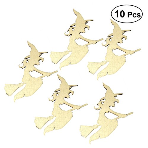BESTOYARD 10pcs Wooden Tags Hanging Halloween Witch Decorations Props