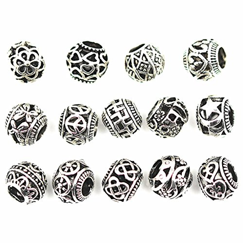 - 20pcs Filigree Bracelet Spacer Beads,Hollow Out Ball Spacer Charm European Beads Pendant for DIY Necklace Bracelt Jewelry Making Findings(Tibetan Silver Tone,Assorted Patterns)