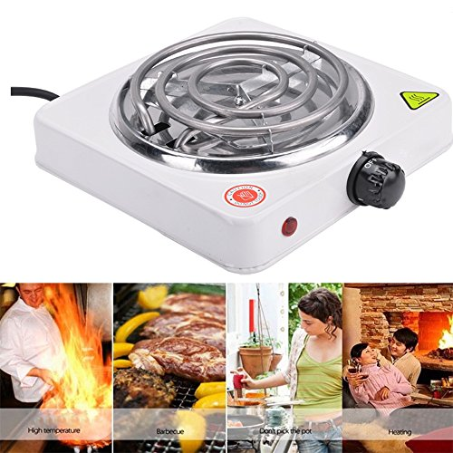 1000W Electric Single Burner Portable Hot Plate Heater Stove US Plug for Cooking, White