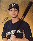 SCOOTER GENNETT MILWAUKEE BREWERS SIGNED AUTOGRAPHED W/ BAT 8X10 PHOTO W/COA