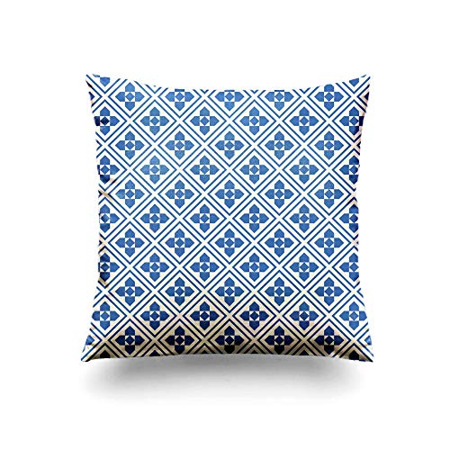 Assp Throw Pillow Cover Repeated Navy Figures and Rhombuses on White Background Ethnic Wallpaper 20x20 Inches Home Decorative Square Pillow Case Cushion Cover