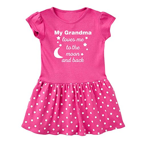 Mashed Clothing Baby-Girls - My Grandma Loves Me to The Moon and Back - Fun & Trendy - Baby Infant Dress (Raspberry Dots, 24 Months) - Back Onesie