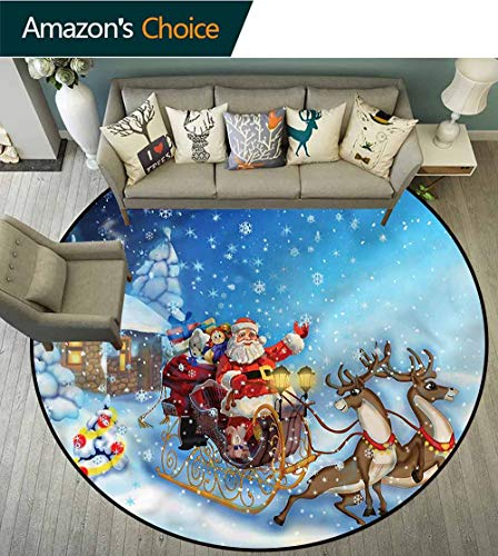 Christmas Warm Soft Cotton Luxury Plush Baby Rugs,Santa in Sleigh Toys Non-Slip Soft Floor Mat Home Decor Round-55