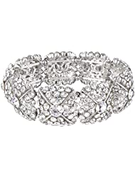 Ever Faith Silver-Tone Austrian Crystal Art Deco Cross Square Elastic Stretch Bracelet Clear N06216-1