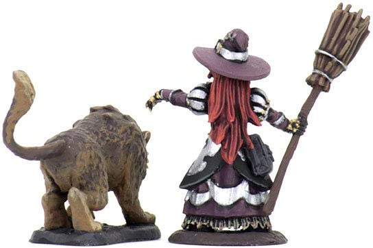 Girl Witch /& Witchs Cat WizKids Wardlings Painted RPG Figures