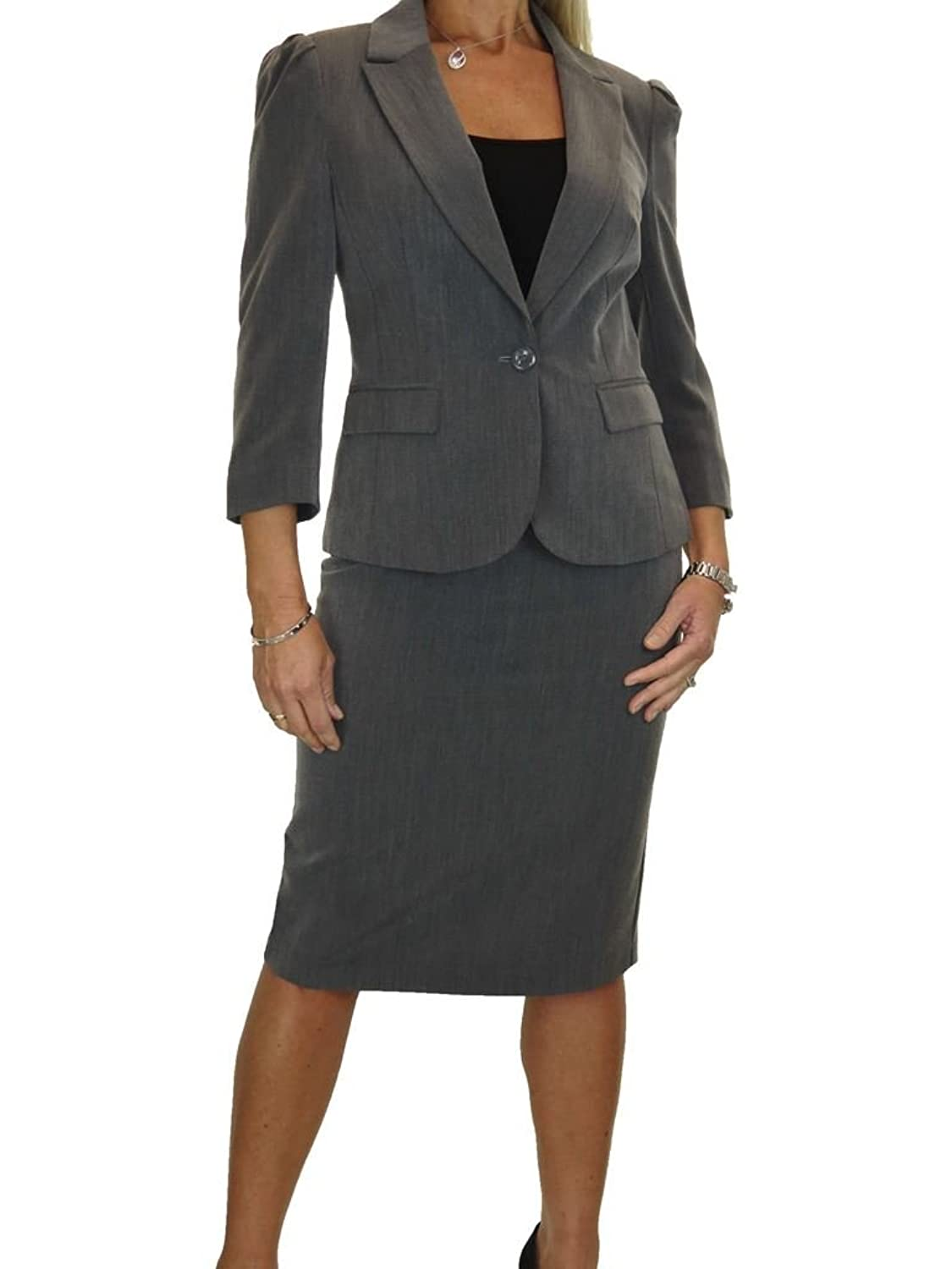 icecoolfashion Ice Fully Lined 3/4 Sleeve Washable Business Office Skirt Suit 4-16