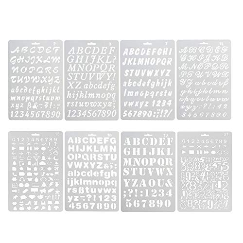 Pack of 8 Plastic Alphabet Letter Number Drawing Painting Stencils Scale Template Sets for Bullet Journal Stencil Planner/Scrapbook/DIY Painting Craft Projects