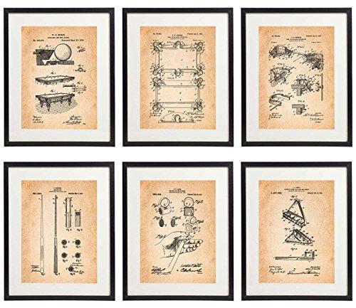 - IDIOPIX Billiards Patent Wall Decor Art Print Set of 6 Prints UNFRAMED