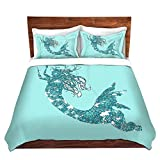 DiaNoche Designs Mermaid II Aqua Bedroom and Bedding Ideas Children Cover, 3 Queen/Full Duvet Only 88'' x 88''